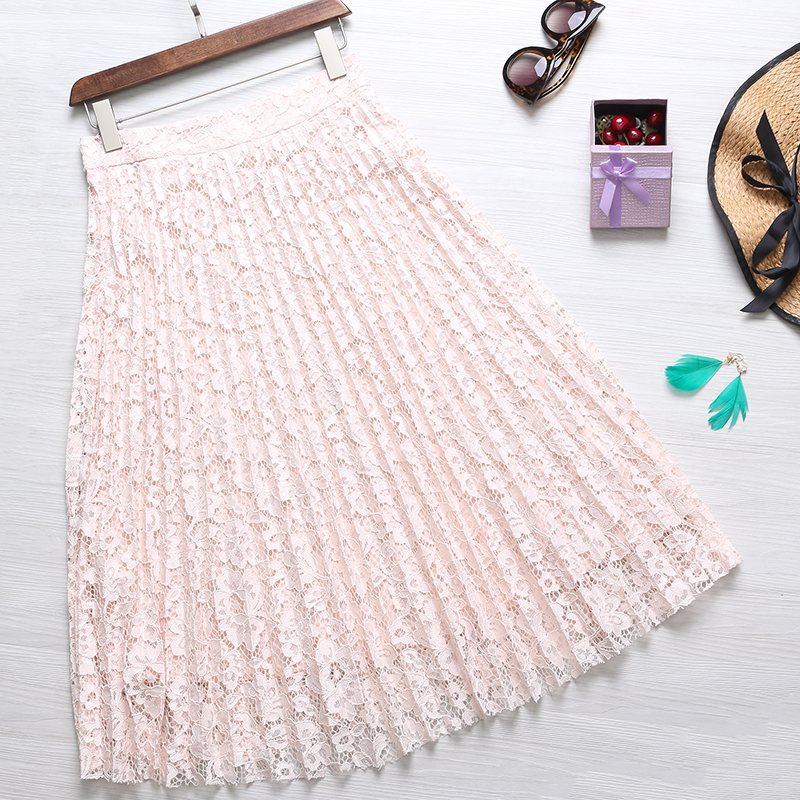 Bohemian Women Elegant Pleated Skirts 2018 Summer Casual Loose Sexy Ladies Floral Lace Crochet Vintage High Waist A-line Skirts