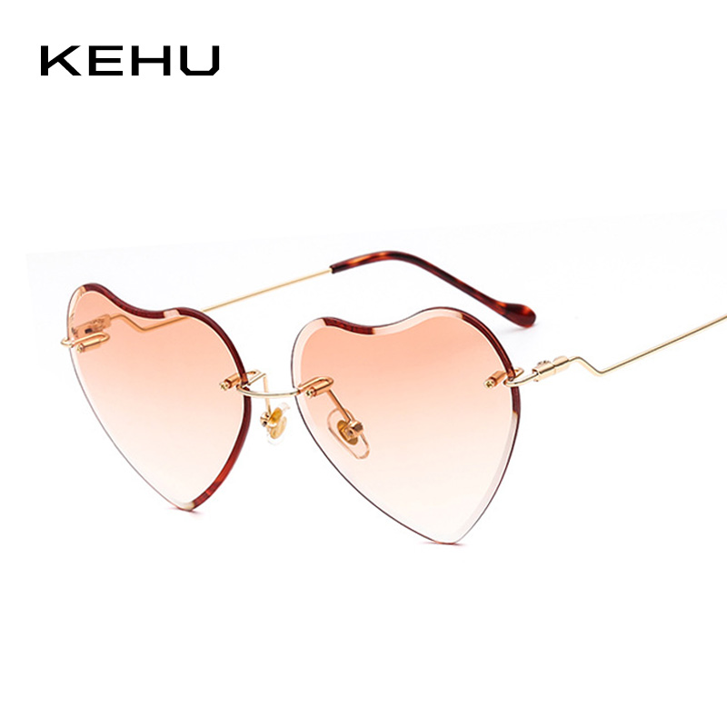 8a5a9c1a22 KEHU Brand Design New Fashion Rimless Heart shaped Sunglasses Women Rainbow  Gradient Rimless Heart shaped Women Glasses K9609-in Sunglasses from  Apparel ...