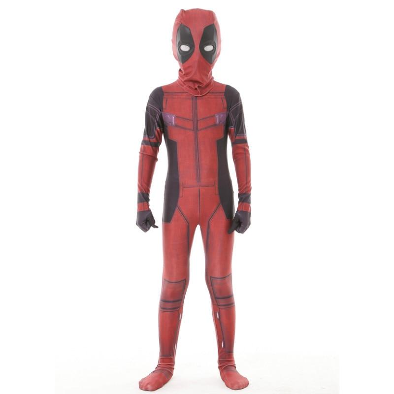 Kids Deadpool Costume with Mask Superhero cosplay Suit Boy One Piece Full Bodysuit Halloween kid Costumes Party Spandex Zentai