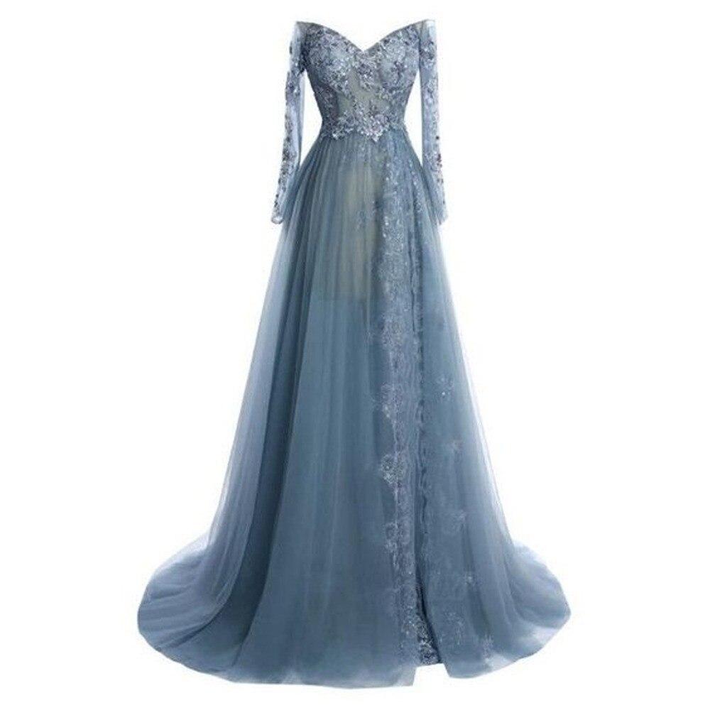 Long Sleeves Muslim   Evening     Dresses   2019 A-line V-neck Tulle Lace Beaded Islamic Dubai Saudi Arabic Long   Evening   Gown Prom   Dress