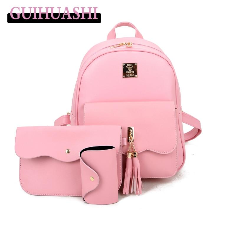 Women Backpack For Teenage Girls School Bags Rucksack Backpack PU Leather Backpack set for female shoulder