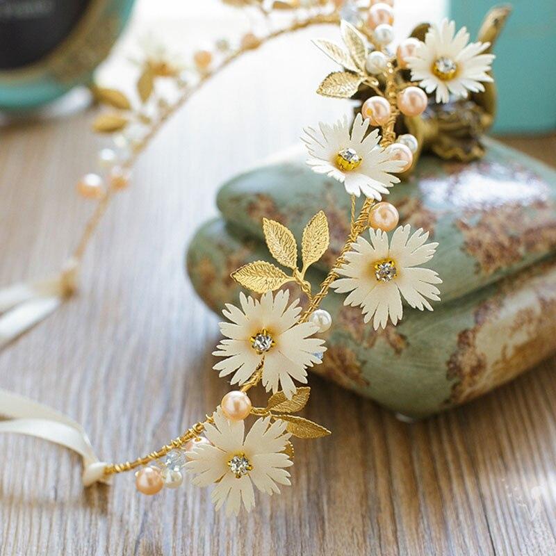 FORSEVEN Gold Leaf Daisy Flower Headband Bridal Tiaras Hair Jewelry Ribbon Wreath Pearl Headpiece Wedding Bride Hair Accessories Ямча