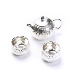 One pot, two cups, travel tea set, portable, Japanese hammer, silver teapot, teacup