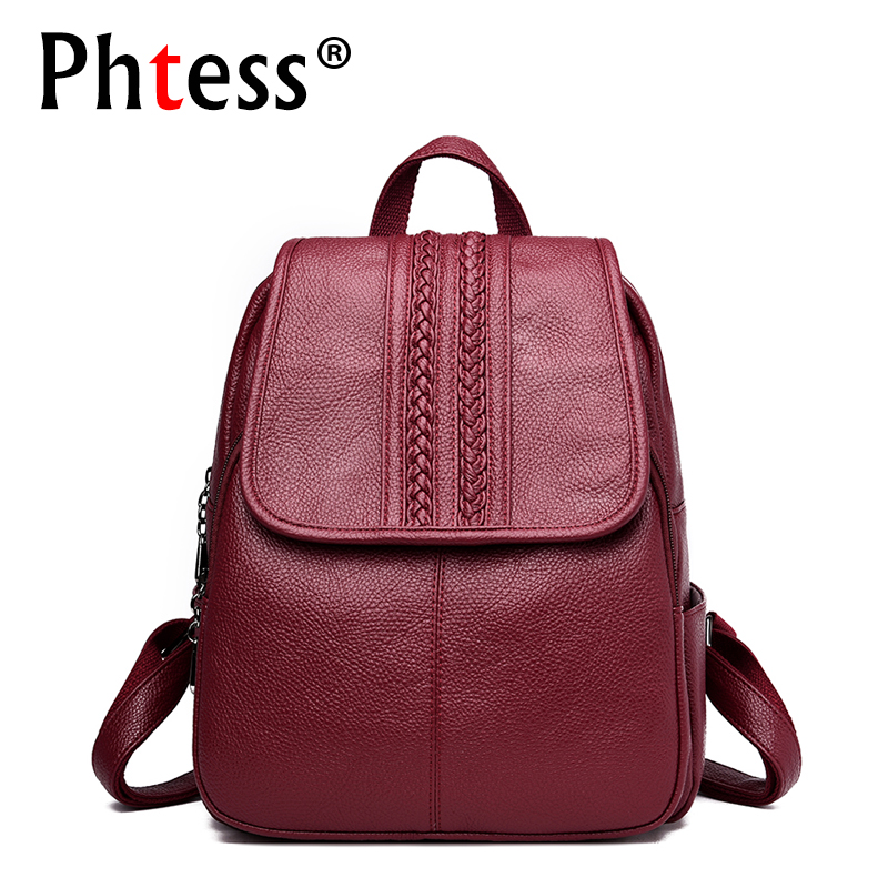 2019 Women Leather Backpacks High Quality Travel Shoulder Bags Female Backpack For Girls Vintage Bagpack Cusual Daypack Rucksack