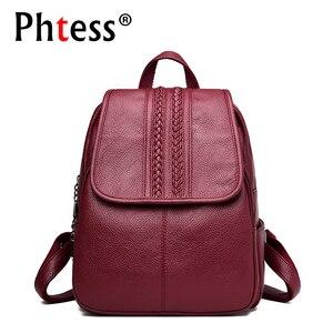 Image 1 - 2019 여성 가죽 배낭 여자를위한 고품질 여행 어깨 가방 여성 배낭 빈티지 bagpack cusual daypack rucksack