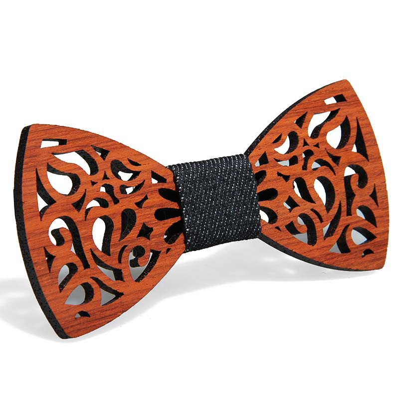 YISHLINE New Paisley Wooden Bow Tie Men's Plaid Bowtie Wood Hollow Carved Cut Out Floral Design Fashion Novelty Ties