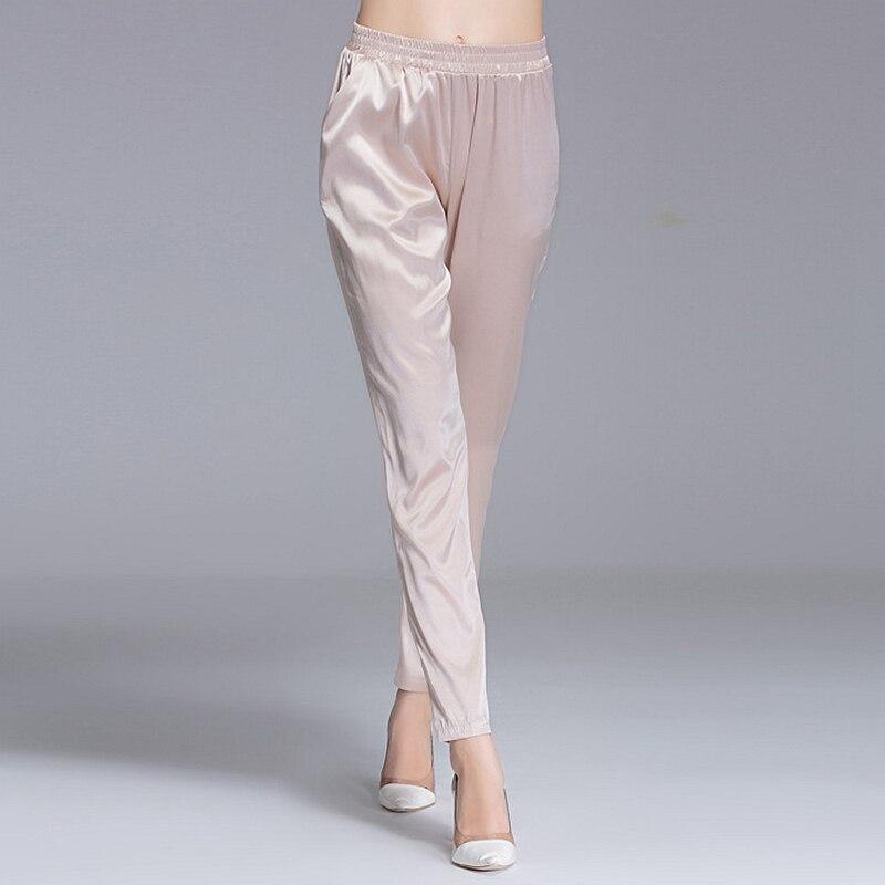 ผ้าไหม 92% กางเกงผู้หญิงง่ายการออกแบบเอวยืดหยุ่นกระเป๋า Harem กางเกงใหม่แฟชั่นยุโรปและสไตล์อเมริกัน 2018-ใน กางเกงและกางเกงรัดรูป จาก เสื้อผ้าสตรี บน   1