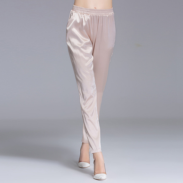a14aafb9070 92% Silk Pants Women Simple Design Solid Elastic Waist Pockets Harem  Trousers New Fashion Europe and American Style 2018