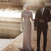 Muslim Langarm Diamant Luxus Abendkleider 2020 Silber Quaste Perlen Abendkleider Ruhigen Hill LA60855