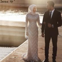 Vestido de noche largo musulmán con manga de diamante, plateado, 2020