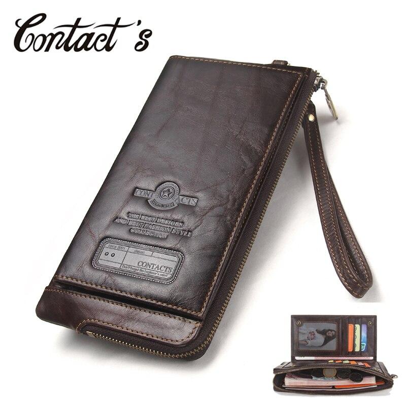 2018 hombres Cartera de marca de cuero genuino cartera hombre de teléfono celular de organizador de bolso de embrague largo moneda monedero gratis grabado