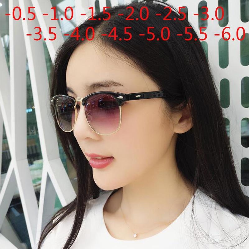 Men Women Students Myopia Sunglasses Metal Half Frame Nearsighted Gray Lens Glasses -0.5 -1 -1.5 -2 -2.5 -3 -3.5 -4 -4.5 -5 -6