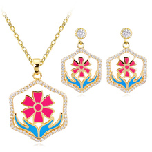 Classic Design Quality Fashion Blue Hand Jewelry Set Enamel Red Flower High Female Accessories