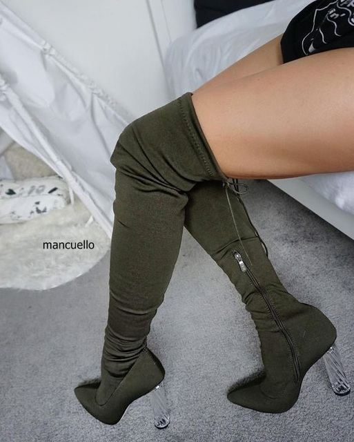 afa2709283 Women Stylish Transparent Block Heels Over Knee High Boots Simply Dark  Green Suede Pointed Up Chunky Heel Lace Up Long Boots