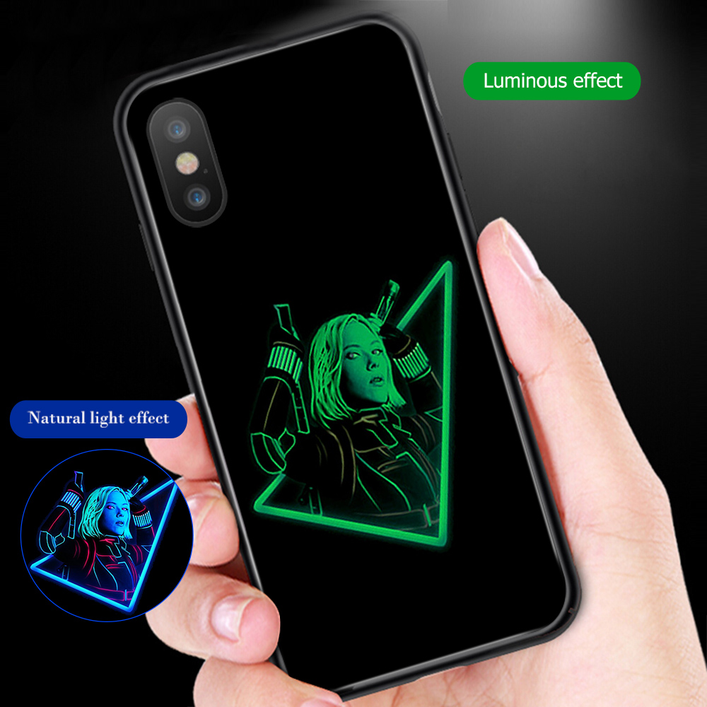 Image 3 - ciciber Marvel Iron Man Luminous Glass Case for iPhone 7 8 6 6S Plus Back Shell Cover for iPhone 11 Pro Max X XR XS Max Coque-in Fitted Cases from Cellphones & Telecommunications