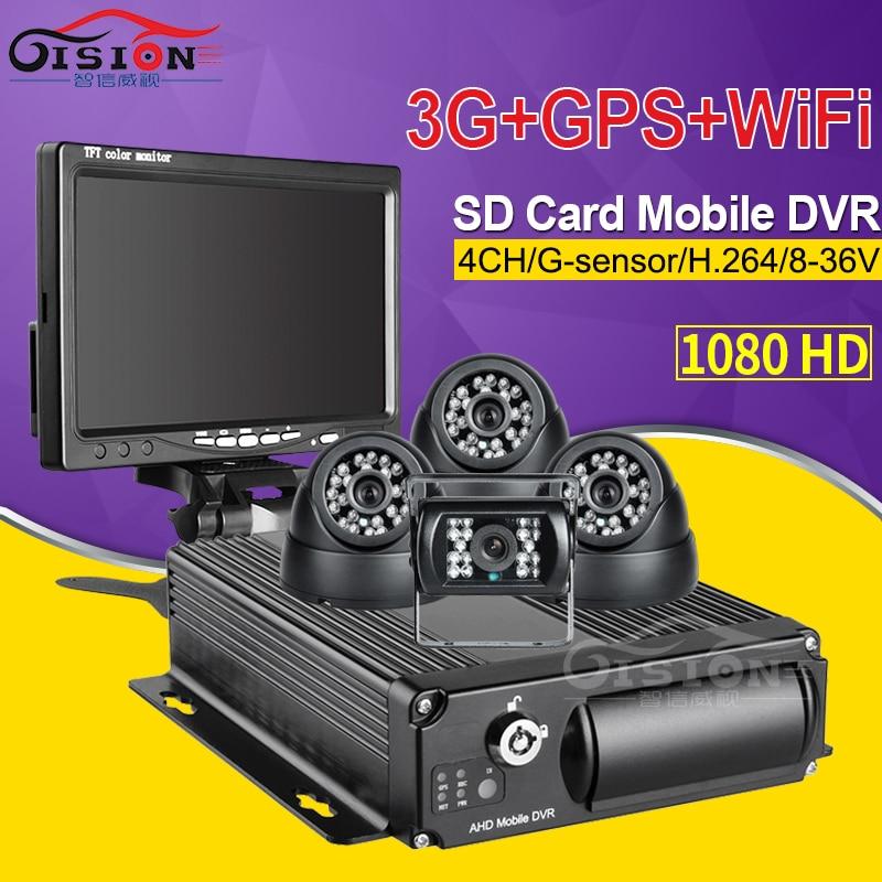 CCTV 1080 AHD Car Mobile Dvr Kits 3G GPS Wifi SD Card 4CH Video/Audio Input Remote Car Blackbox Recorder Software/ Cmsv6 Free