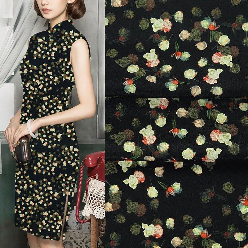 108 см 28 мм желтый цветочный принт стрейч черный тяжелый Шелковый креп ткань для весны и лета платье Блузка юбка рубашка брюки JH086 - 3