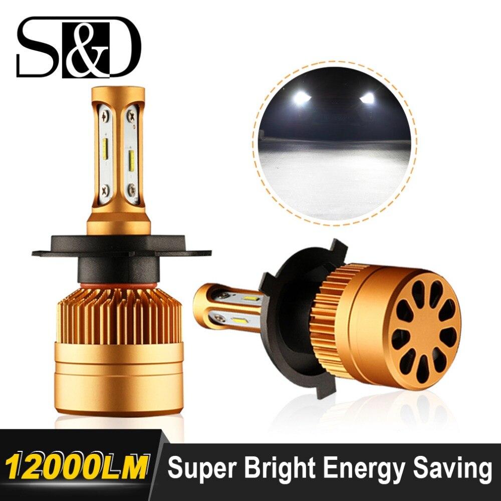 2 piezas H7 LED H1 H4 H3 H11 H8 H9 H27 880, 881, 9005, 9006 HB3 HB4 llevó bombillas de los faros con 1515 fichas 12 V luz del coche Auto LED lámpara