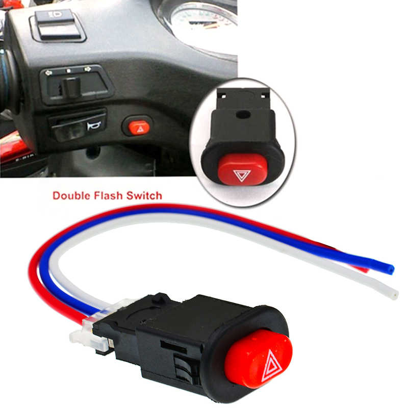 DIY Motor Switch Tersedak Saklar Lampu Tombol Double Flash Peringatan Darurat Sinyal Lampu Flasher dengan 3 Kabel Built-In kunci