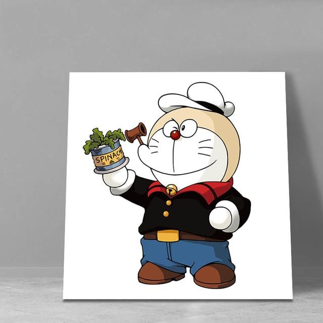 Gaya Jepang Kartun Doraemon Wall Art Framed Poster Gambar Pewarna