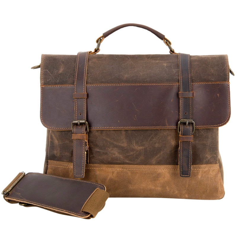 Waterproof Laptop Briefcase Waxed Canvas Genuine Leather Laptop Bag Coffee