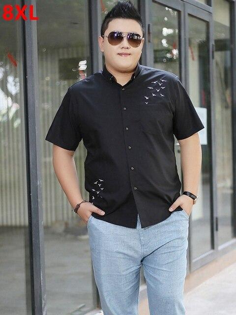 4748ea8b0 Для мужчин плюс размер одежды черный рубашка с короткими рукавами мужские  большие размеры Повседневная летняя обувь