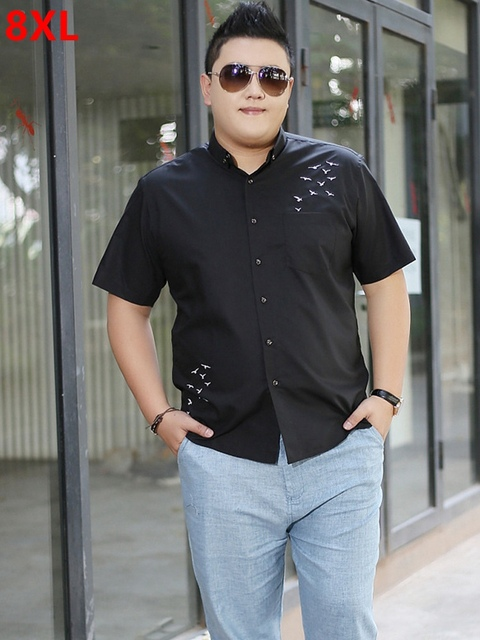 Men s plus size clothing black short-sleeve shirt male plus size casual  summer shirt fat Big black short sleeved shirt 42f4f903d742