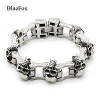 Fashion Charm Punk Skeleton Bicycle Chain Men Bracelets Bangles 316L Titanium Stainless Steel Chic Hand Chain