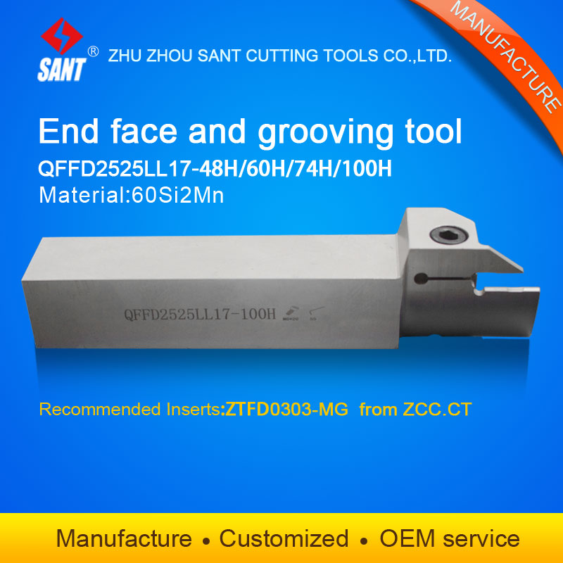 Zhuzhou Sant cnc cutting tools Surface Grooving tool holder QFFD2525LL17-100H with inserts ZTFD0303-MG  with good qualityZhuzhou Sant cnc cutting tools Surface Grooving tool holder QFFD2525LL17-100H with inserts ZTFD0303-MG  with good quality