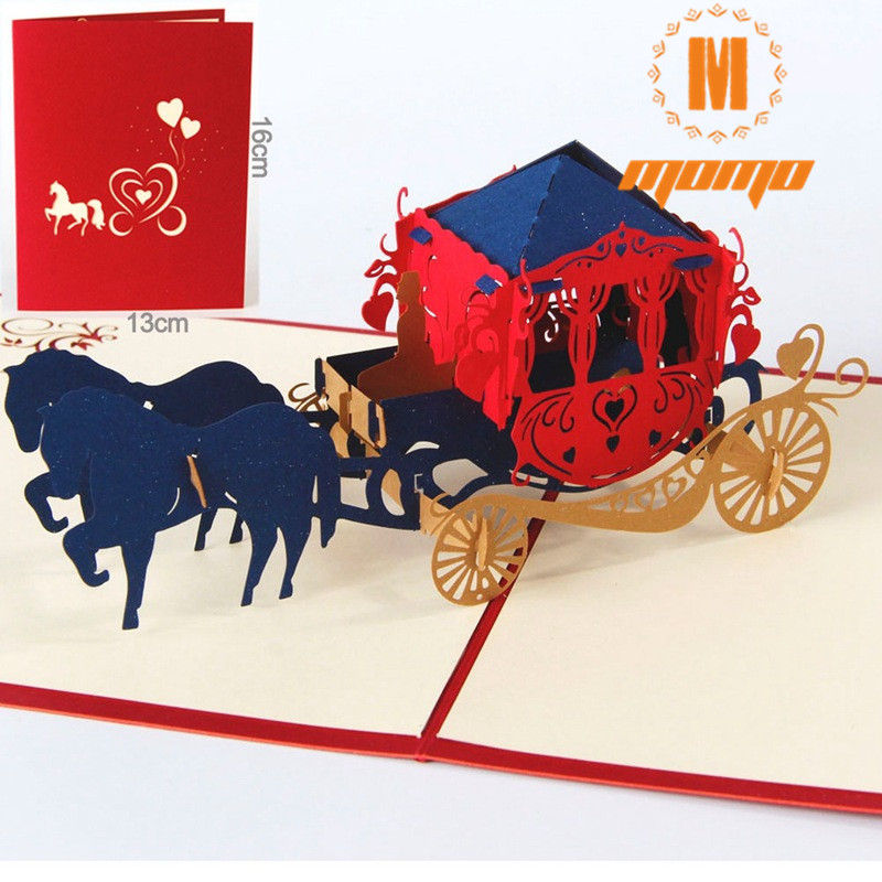 MOMO Wedding lnvitations love carriage 3D laser cut paper cutting Greeting Pop Up Kirigami Card Custom postcards Wishes Gifts creative gifts 3d pop up card greeting