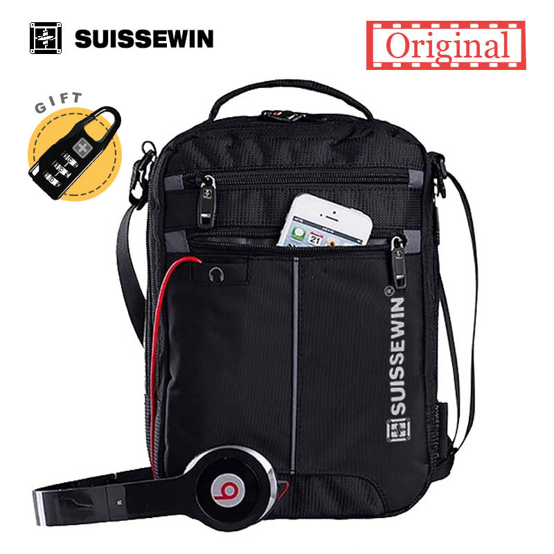 2018 Swiss Messenger Shoulder Bag 11 pulgadas Black Bag para Ipad práctico bandolera para estudiantes Casual Oxford Messenger Satchel