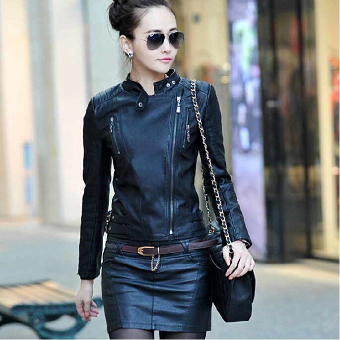 Free shipping Spring autumn women's small stand collar short design Senior washed   leather     leather   jacket outerwear / M-3XL