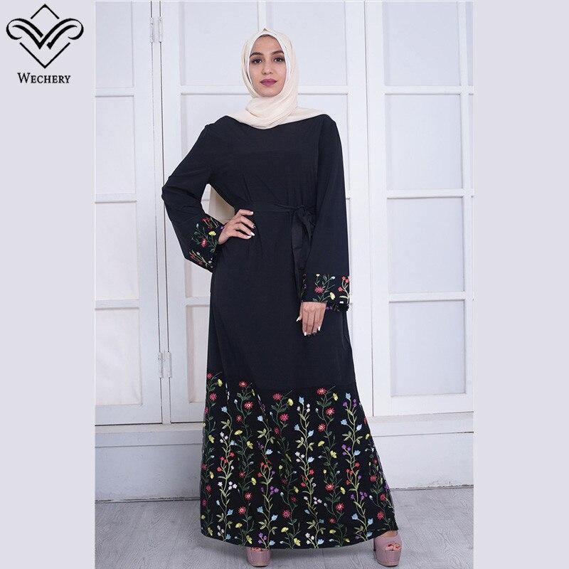 Wechery Abaya Black Floral Muslim Dress For Women Elegant Flower Patterned Dresses With Belt Slim Waist Plus Size