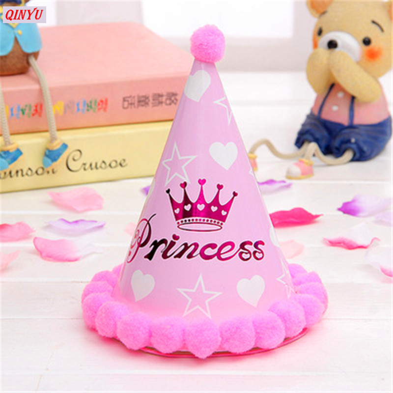 1Pcs Cute Birthday Hat Party Cone Hats Girls First Decorations Paper Cap With Pom For Kids Supplies 6Z In DIY