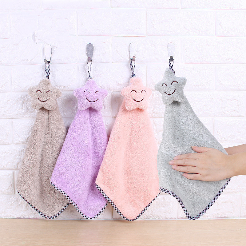 Star Hand Towel Cartoon Towel For Kids Chidren Microfiber Absorbent Hand Dry Towel Kitchen Bathroom Soft Plush Dishcloths