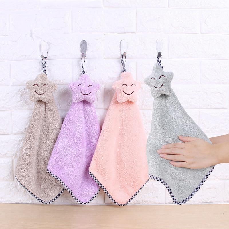 Star Hand Towel Cartoon Towel For Kids Chidren Microfiber Absorbent Hand Dry Towel Kitchen Bathroom Soft Plush Dishcloths