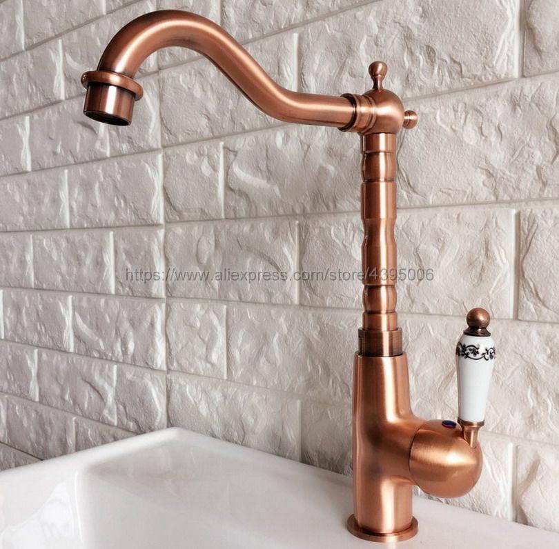 Antique Red Copper Swivel Spout Bathroom Sink Mixer Taps Single Handle Basin Faucet Bnf412Antique Red Copper Swivel Spout Bathroom Sink Mixer Taps Single Handle Basin Faucet Bnf412