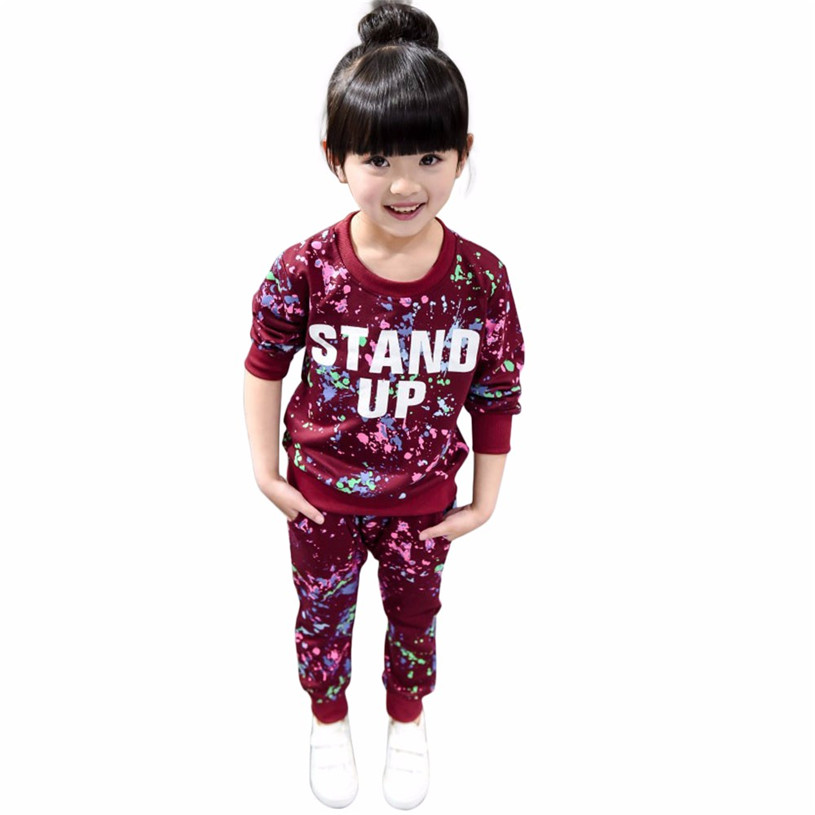 baby clothes 2017 fashion Kid Girls Boy Color Paint Letters Long Sleeve Sweater+Pant Sports Suit