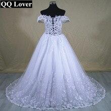 QQ Lover 2017 New Boat Neck Good Quality Lace Wedding Dress Beautiful Appliques Bridal Gown Vestido De Novia