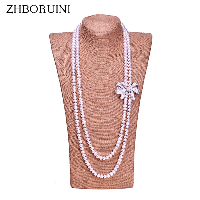 High Quality Fashion Long Pearl Necklace Natural Freshwater Pearl sterling silver Jewelry