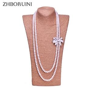 Image 1 - Zhboruini أزياء اللؤلؤ قلادة طويلة عالية guality الطبيعية المياه العذبة بيرل 925 فضة مجوهرات bowknot النساء قلادة