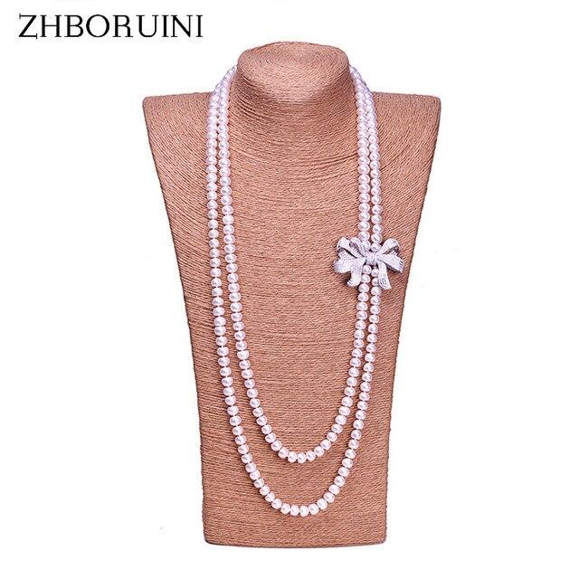 Zhboruini أزياء اللؤلؤ قلادة طويلة عالية guality الطبيعية المياه العذبة بيرل 925 فضة مجوهرات bowknot النساء قلادة