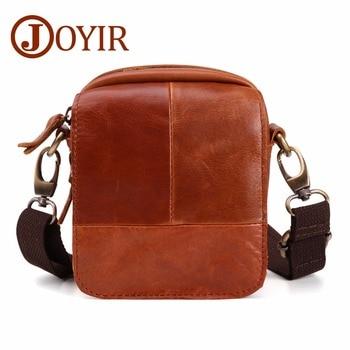 730b4e289a63 JOYIR Для мужчин из натуральной кожи Винтаж плечо сумка мужской  Повседневное многофункциональный небольшой Flap Crossbody Bag Wasist сумки  005