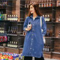 Women's loose medium long boyfriend outerwear for woman Casual loose denim trench