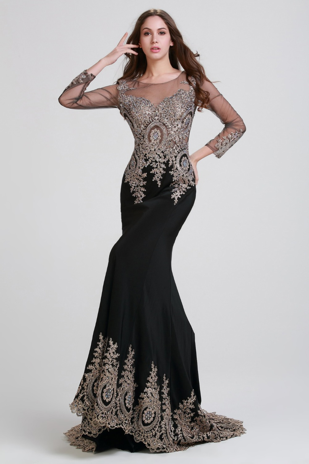 Fm Floor Length Sexy Backless Evening Dresses 2015 Hot -4582