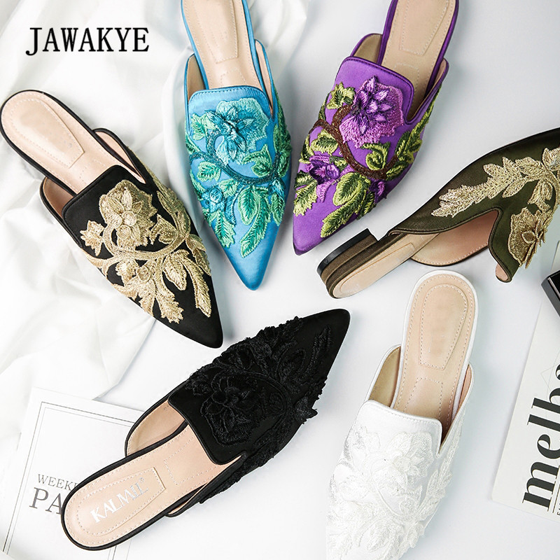 c0fb6aa812a New Arrival Flower Embroidered Satin Slipper Woman Pointed Toe Mixed Color  Fashion Flats Lady Retro Muller