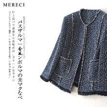 purebliss tweed jacket 2017 runway blue pocket designer high quality elegant formal coat