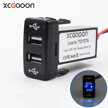 XCGaoon 5 Piece Special 5V 2.1A 2 USB Interface Socket Car Charger Adapter for TOYOTA, DC-DC Power Inverter Converter image