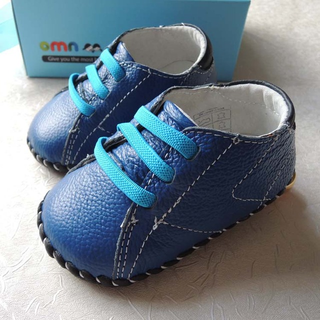 Omn Brand 2017 Genuine Leather Baby Shoes Soft Sole Indoor Toddler Shoes 6-24M Dark Blue Boys Shoes