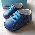 Omn marca 2017 zapatos de bebé de cuero genuino suave suela zapatos del niño interior 6-24 m azul oscuro zapatos de los muchachos